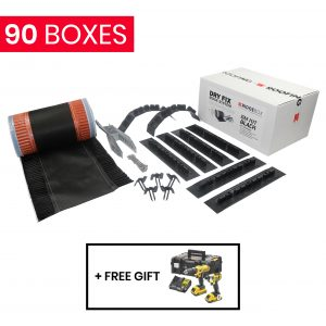 90 x ERidge Dry Fix Ridge System - 6m Kit Black + DeWalt Twin Pack