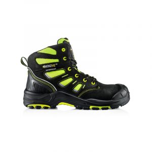 Yellow and black high visibility safety boot