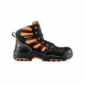 Buckbootz Lightweight Waterproof orange and black Safety Lace Boot side image